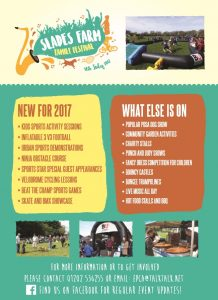 Slades Farm Family Festival flyer back 2017