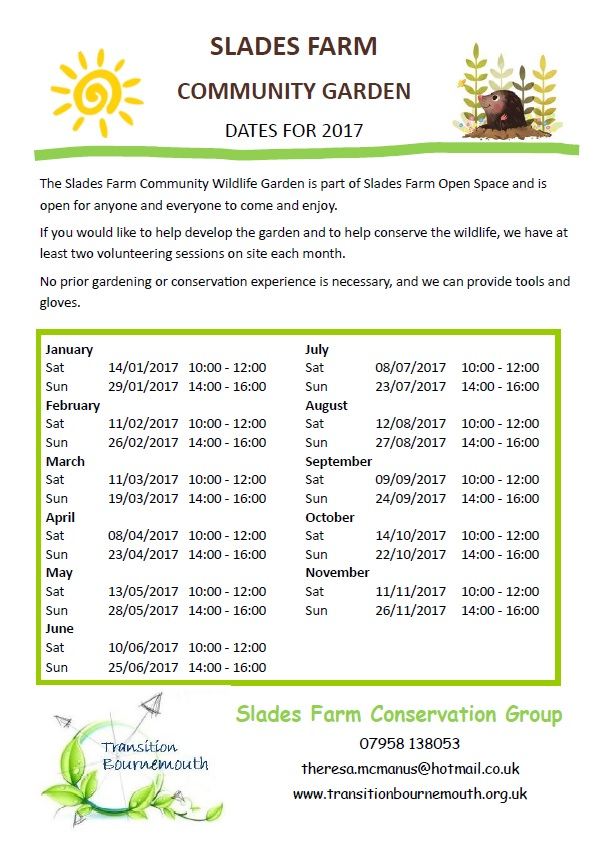 Slades Farm Community Garden Dates 2017