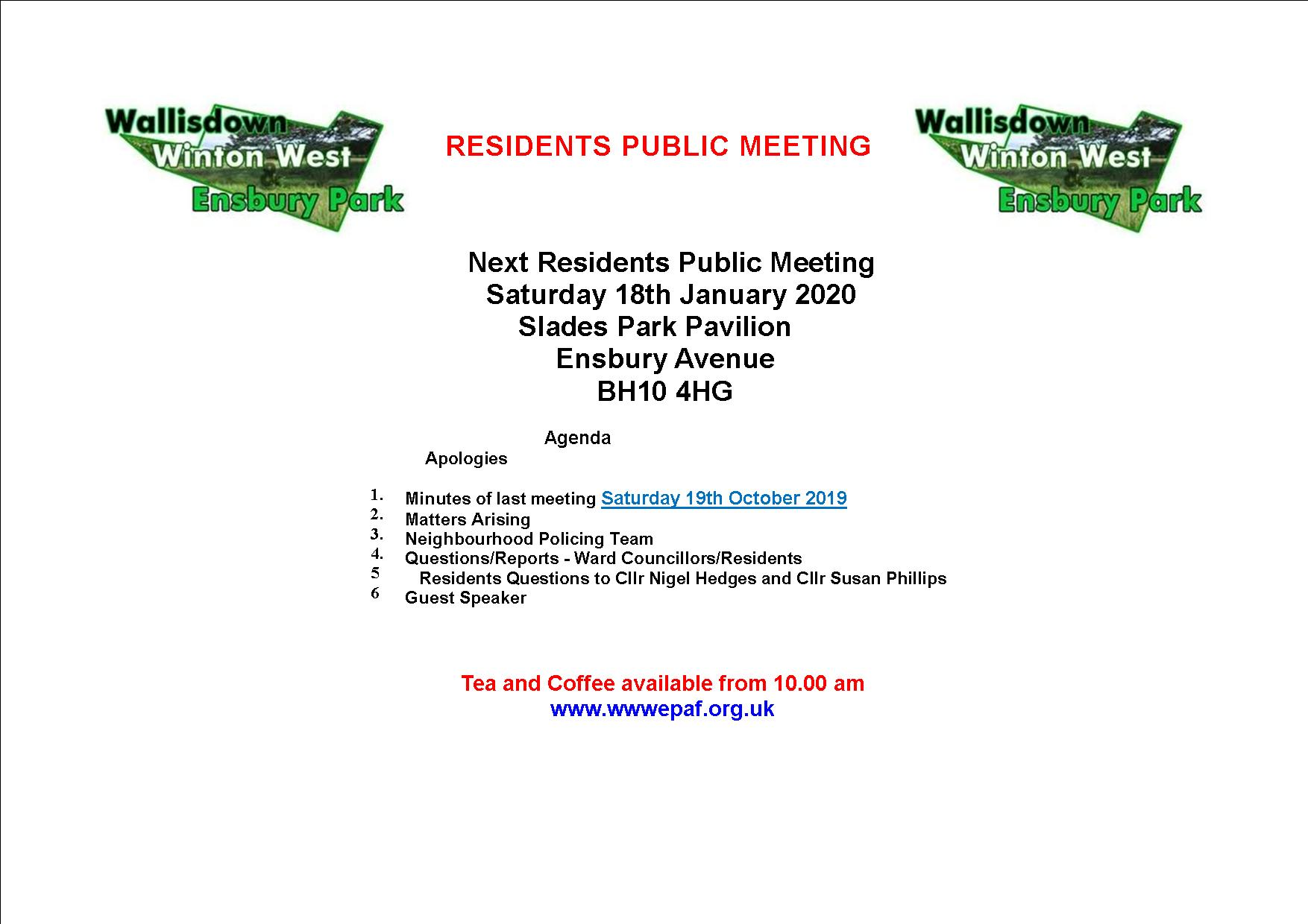 18th jan residents publick meeting